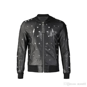 Men's jacket Korean version of the trend of men's wild gimmick letters European station pilot jacket PU leather mens designer jack