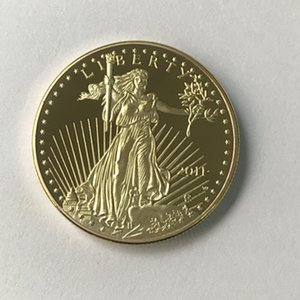 10 pcs Non magnetic Freedom 2011 coins statue beauty eagle badge gold plated 32.6 mm drop shipping acceptable decoration coin