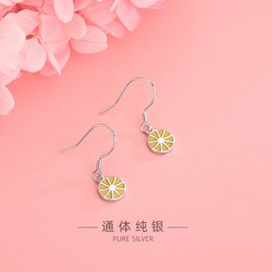 2020 New Style Fruit Jewelry Fashion Earrings Female S925 Sterling Silver Cool Sweet Small Fresh Earrings Lemon Ear Hook