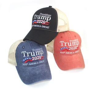 Donald Trump gorra de béisbol lavada bordado Trump sombrero unisex casual 2020 de la campaña electoral de EE.UU. deporte al aire libre Sombreros DDA178