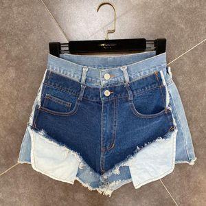 Jean Shorts Woman 2020 Summer Design Double Waist Multi-Colored Rough Edges Pocket Fashion Street High Waist Denim Shorts Short