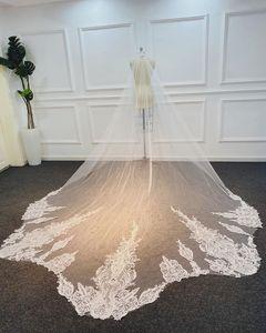 Best Selling Chapel Length Bridal Veils with Appliques In Stock Long Wedding Veils 2020 Vestido De Noiva Longo Wedding Veil V184