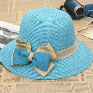Travel sunshade Butterfly straw straw bow curled hat women's holiday sunscreen leisure beach hat fashionable Korean version