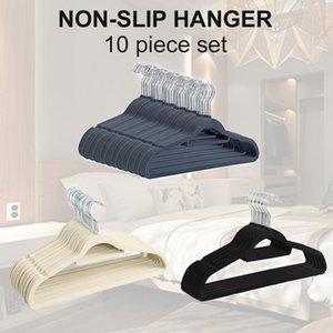 Flocking Hanger Non-slip Plastic Flocking Velvet Coat Flocked Custom Hanger Seamless Drying Rack Newest 2019 T200211