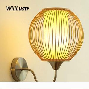Handmade Bamboo Globe Wall Lamp Pastoral Wood Stick Ball Sconce Aisle Doorway Corridor Foyer Porch Creative Metal Light Fixture