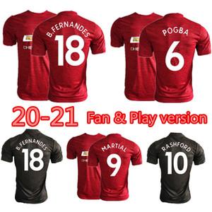 Hasta 4XL 20-21 Bruno Fernandes Pogba camiseta de fútbol Manchester Rashford MARTIAL GREENWOOD jugador de camiseta de fútbol versión artificial de fútbol kit utd