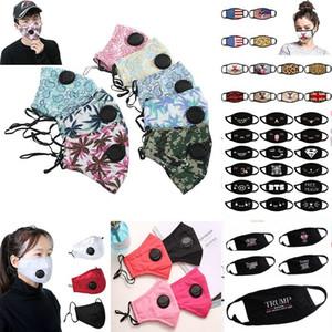 DHL navio respiração Válvula Fashion Designer Rosto Algodão máscara máscaras Folding protecção Dustproof PM2.5 American Flag Trump Ciclismo cara