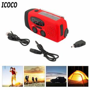 ICOCO 3 em 1 carregador de emergência Manivela Generator Wind up Solar Dynamo FM Alimentado / AM Rádio Charger LED