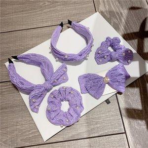 Bow perle cheveux Hoop Violet larges bords Épingle Fil dentelle Designer Bandeaux Grand Intestin Spring Ring clip