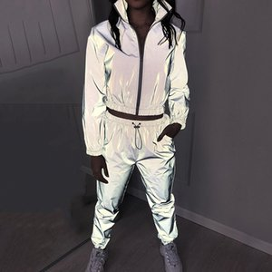 2 Piece Women Reflective Tracksuits Sets Outfits Luminous Loose Drawstring Jackets and High Waist Sweatpants Casual Jogger Suit