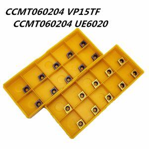 10PCS inserción de carburo CCMT060204 VP15TF CCMT060204 UE6020 herramienta de fresado CNC ronda interna cuchilla de torno herramientas CCMT 060.204 herramienta de fresado