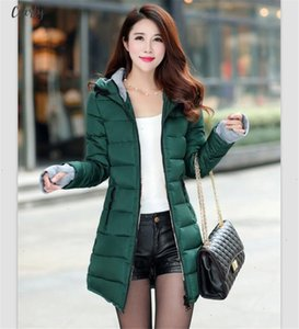 Jacket Womens Winter 2020 New Medium Long Cotton Parka Plus Size Hooded Coat Slim Ladies Casual Clothing Hot Sale