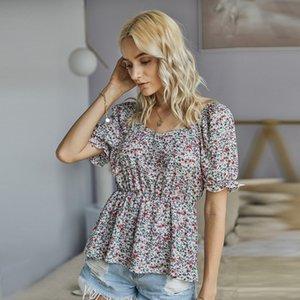 Round Collar Printed Chiffon Blouse XL Short Sleeves Zaraing Bohemia Seaside Holiday Wind Solid Blousas Women Blouses