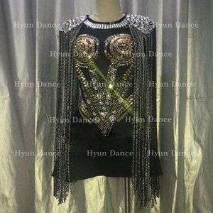 noir jupe Costumes Bodysuit Jazz Dance Bar Dj Sexy Dancers Nightclub DS rivet cristal chanteur vêtements Rave Jumpsuit Stage Porter