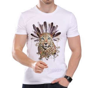 Brand 2020 Printed Men's T Shirt Cute Leopard Head Feathers Summer Tops Tees short sleeve Modal O-Neck Hipster