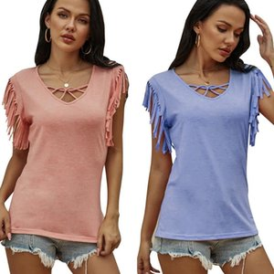 Women Summer Casual Soild Color V Neck Short Sleeve Tassel T-shirt Female 2020 Fashion Top Ladies Daily Pink Purple Tee D30
