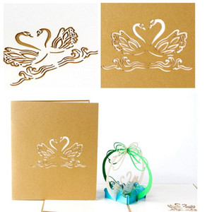 3D Handmade Up Laser Cut Vintage Cards Swan Greeting Cards Creative Postcard For Lovers Couples