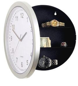 Montre Horloges murales cachées Boîte de rangement Horloge circulaire Masquer Ouverture Suspending Coffre-fort Boxs Organisateur de Bell Hotel Supplies C2
