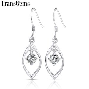 Transgems 14K 585 White Gold 1CTW 5MM F Color VVS Moissanite Drop Earrings for Women Party Shiny Ladies Dangle Earrings Y200620