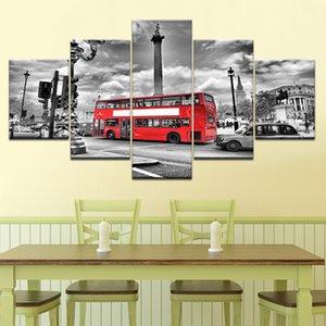 5 Panneau mural Art Canvas Print London City Bus Paysage Peinture pour Salon encadrée Image modulaire Création