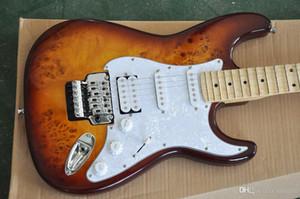 Marrom Guitarra Elétrica com Pickguard Branco Pérola, Captadores SSH, Scalloped Fretboard Bordo, Floyd Rose, oferecendo serviços personaliza