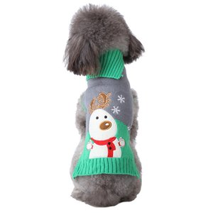 Christmas holiday pet clothes grey green snowman elk autumn winter knit sweater small and medium-sized dog clothing wholesale