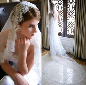 3 meters Vintage Lace Edge wedding Veil Lace applique cathedral length Country Bohemian Wedding Bride's Hair acc