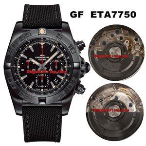 3 tapa del estilo del mejor reloj GF 44 Chronomat Cuervo Blacksteel ETA7750 automática del reloj para hombre MB0111C3 Negro Dial correa de caucho para caballero relojes deportivos