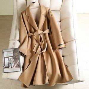 Lange koreanische Wolle Mantel für Frauen 2020 Hochwertige einfarbige Mantel Herbst Winter lange Mäntel mit Gürtel