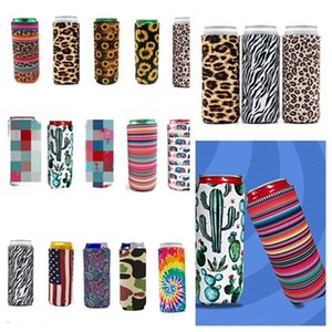 porte-gobelet 330ml Slim Can Beer tasse InsulatorsNeoprene set boissons Cooler Pliable Soda Bottle Cactus Leopard Can manches T2I51275