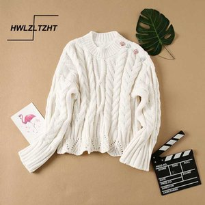 HWLZLTZHT Women Knitted Sweater Autumn Plus Size Women Clothing Button Elegant Sweater O Neck Pullover Soft Femme Knitwear