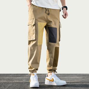 Pantalones iiDossan remiendo del algodón de los hombres de Carga 2020 Streetwear chándal para hombre Pantalones Hip Hop Pantalones Multi-bolsillos tela escocesa Trajes Nuevos
