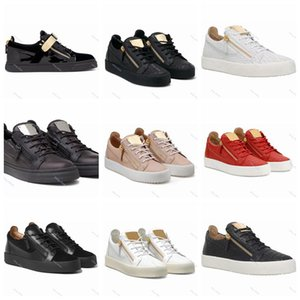 xshfbcl New 2020 Italy new luxe low-top shoes for men women gradient color stitching strap White Zip Sneakers Ladies Leather High help Shoes