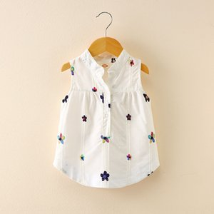 2020 new summer dress girl Top Embroidered Vest baby vest Korean embroidery small flower sleeveless lapel casual shirt top