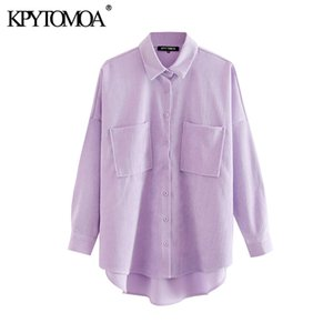 KPYTOMOA Women 2020 Fashion Pockets Oversized Corduroy Shirts Vintage Long Sleeve Asymmetric Loose Female Blouses Chic Tops CX200710