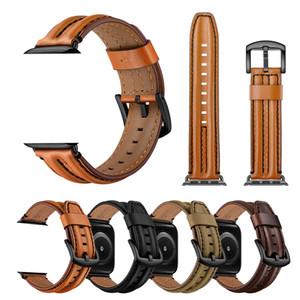 جلد البقر ووتش حزام الفرقة سوار لتفاح حزام 44 مم 38MM 40MM 42MM لسلسلة iwatch 5 4 3 الفرقة معصمه