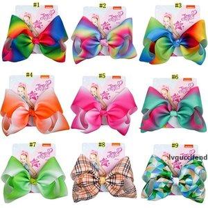 8 inch JOJO SIWA Rainbow lattice Big Bow Hairpin cartoon plaid Barrettes Kids Boutique Hair Clip Hair Accessories MMA2042