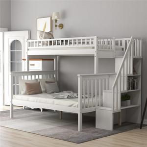 사다리 소나무 나무 이층 침대 트윈 이상 전체 및 가드 레일, 어린이 성인을위한 저장 선반과 미션 스타일 목재 트윈 완벽하게 침대