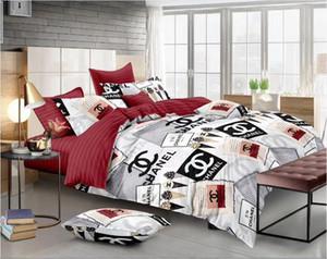 Branded Soft Polyester Bedding Set Fashion 4 Pcs Sheet Duvet Cover 2 Pillowcases Home Textiles Comforter Bedclothes