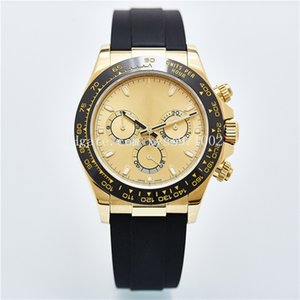 High Quality Asian Watch 2813 Automatic Mechanical Men's Watch 116518 Model 40mm Champagne Dial Rubber Strap Ceramic Bezel Sapphire Glass