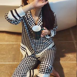 Yaz İpeksi Saten Kadınlar Pijama Pijama Lüks Ekose Desen Bayan pijamalar Uzun ve Kısa Kollu Kız Ev Giyim Toptan ayarlar