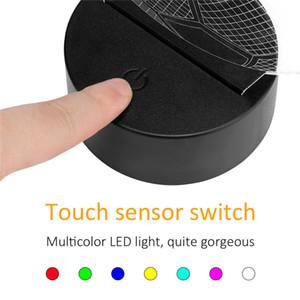 3D LED Lamba Taban USB Kablosu Dokunmatik 3D LED Işık Tutucu Lambası Tabanı Gece Işığı Değiştirme 7 Renk Renkli Işık Üs Tablo Dekor Tutucu