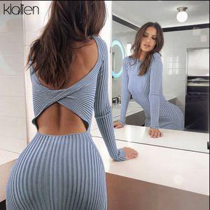 KLALIEN tricot longues Slim robes midi de moulantes manches des femmes de 2019 fête d'automne hiver robe club élégant mujer 2 voies usure T200710