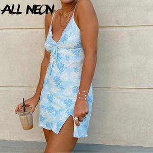 Allneon Y2K Moda Spagetti Kayışı Dantel Cami Elbiseler E-Kız Tatlı Bandaj Ön Derin V YARıK HEM Baskı Mini Elbise Vintage 90s