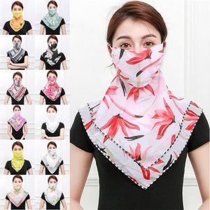 Mulher Tulle Chiffon Máscaras lenços das senhoras verão da face Floral Máscara Turban moda praia Dustproof Máscaras Veil