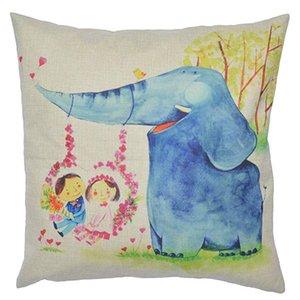 Square Pillowcase Cotton Linen Pillowcase 45*45cm Pillowcase Throw Pillow Covers Colorful Cute Elephant Cushion Covers for Sofa