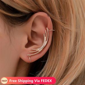 Hot Fashion Single Girl ear cuff earrings 1PC Angel feather golden ear clips for women left ear Punk Jewelry Gift