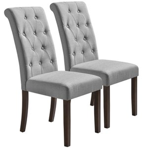 WACO High Back Dining Chairs, 2pcs Solid Wood Legs, Aristocratic Style Houtel Dinning Room Restaurant Chairs Grey
