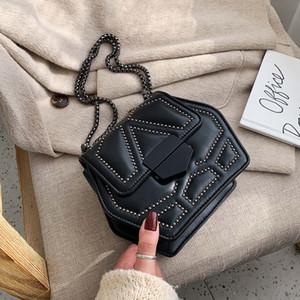 Hexagon PU Leather Crossbody Bags For Women 2020 Rivets Chain Shoulder Messenger Bag Female Travel Mini Handbags T200713