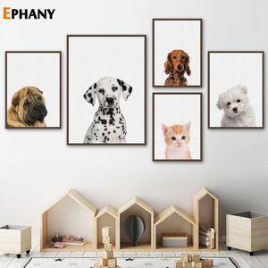 Kawaii Cat Animal Dog Poster Stampe di arte della parete della tela di canapa Pittura Nursery Kitten cucciolo decorazioni Immagine Nordic bambini Decor Camera